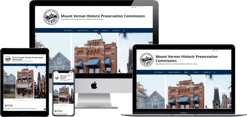mockup images of the MVHPC.org website displayed on several types of digital devices